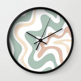 Liquid Swirl Abstract Pattern in Celadon Sage Wall Clock