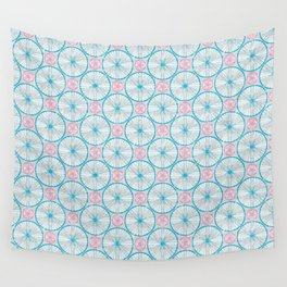 Bicycle Wheels Cycling Pattern - Grey Blue Pink Wall Tapestry
