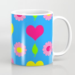 Daisy and heart print, turquoise, pink and yellow Coffee Mug