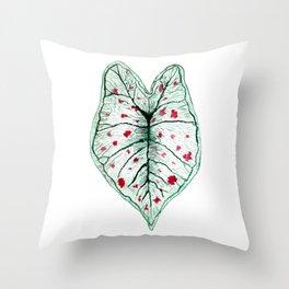 Caladium Strawberry Star Throw Pillow