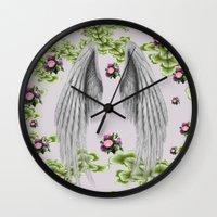 angel wings Wall Clocks featuring angel wings by karens designs