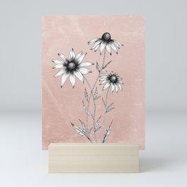 Wildflowers Ink Drawing | Dusty Pink Mini Art Print
