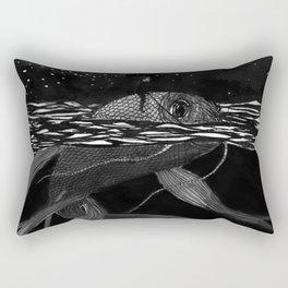 Riding a fish Rectangular Pillow