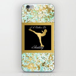 Figure Skating I Would Rather Be Skating- Mint and Gold Splatter Paint Design iPhone Skin