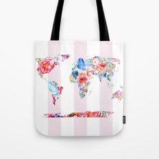 Floral World - Pink Stripe Tote Bag