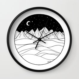 Mountains and the Moon Wall Clock