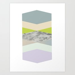 pastel loves marble geometry Art Print