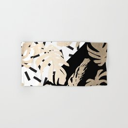 Simply Tropical Midnight Black Memphis Palm Leaves Hand & Bath Towel