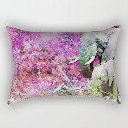 Elephant art mother child pink floral Rectangular Pillow
