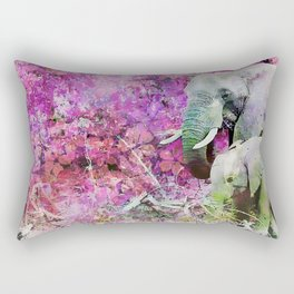 Elephant art mother child pink floral Rectangular Pillow
