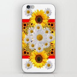 WHITE DAISIES & SUNFLOWERS RED GARDEN  FLORAL iPhone Skin