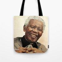 mandela Tote Bags featuring ICON: Mandela by Diavu'