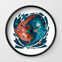 Japanese fishes in a in and jan circle - flat abstract illustration in limited ocean water blue and japan color palete Wall Clock