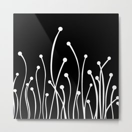 Floral Modern Black and White Metal Print