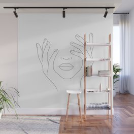 Minimal Line Art Woman with Hands on Face Wall Mural