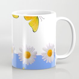 BLUE MODERN ART YELLOW BUTTERFLIES & WHITE DAISIES Coffee Mug
