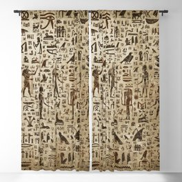 Ancient Egyptian Gods and hieroglyphs - Vintage and gold Blackout Curtain