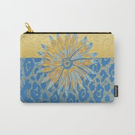 Animal Print Cheetah Yellow and Blue Pattern Carry-All Pouch