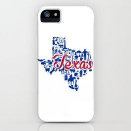 SMU Texas Landmark State - Red and Blue Southern Methodist University Theme iPhone Case