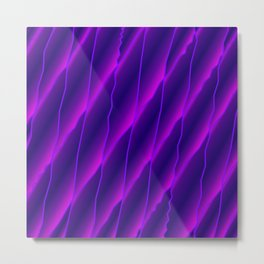 Slanting repetitive lines and rhombuses on luminous violet with intersection of glare. Metal Print