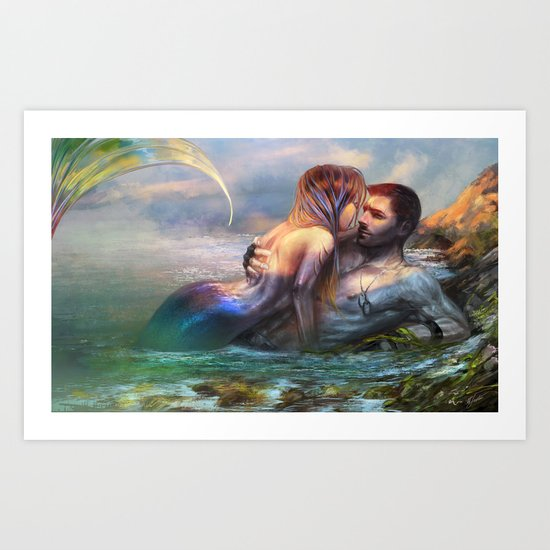 Take my breath away - Mermaid in love with soldier on the beach Art Print
