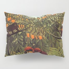 Apes in the Orange Grove by Henri Rousseau 1910 // Colorful Jungle Animal Landscape Scene Pillow Sham