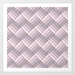 Pattern Play in Pink and Gray Art Print