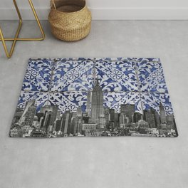 New York City Manhattan Skyscrapers Meet Portuguese Tiles - Azulejo Blue and White Floral Leaf Design Rug
