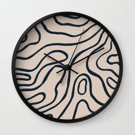Topographic Map / Nude & Dark Blue Wall Clock