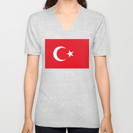 National flag of Turkey, Authentic color & scale Unisex V-Neck
