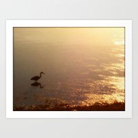 crane Art Prints featuring Crane by Jennifer L. Craft