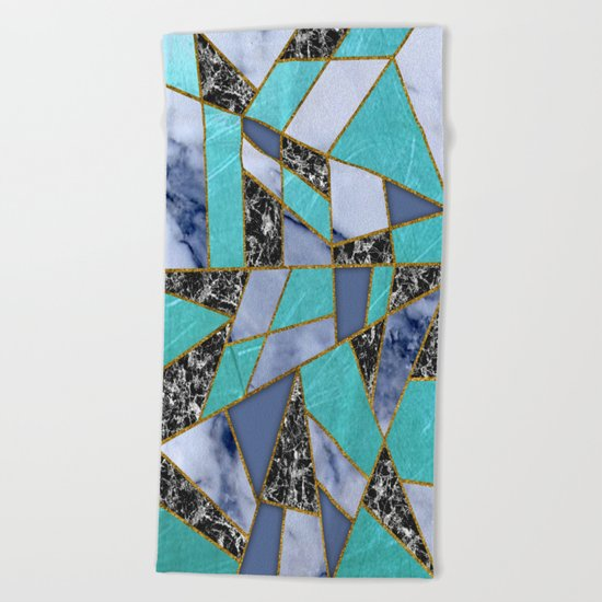 Abstract #457 Marble Shards Beach Towel
