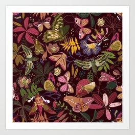 Spirit guiding moths Art Print