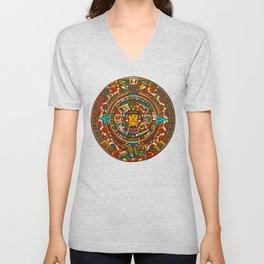 Aztec Mythology Calendar Unisex V-Neck
