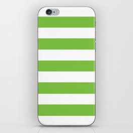 Asda Green - solid color - white stripes pattern iPhone Skin
