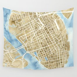 Charleston, South Carolina City Map Art Print Wall Tapestry