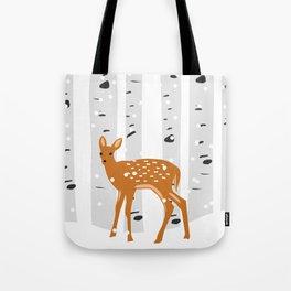 Baby Deer in the snow Tote Bag