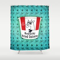 kentucky Shower Curtains featuring Kentucky Fried Unicorn by That's So Unicorny