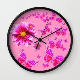 Decorative Pink Dahlia's & Butterflies Pattern Wall Clock