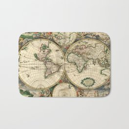 Old map of world hemispheres. Created by Frederick De Wit, published in Amsterdam, 1668 Bath Mat