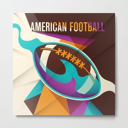 American Football Sport Ball Abstract Metal Print
