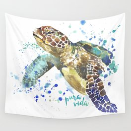 Sea Turtle Pura Vida Watercolor Wall Tapestry