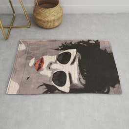 Cleverly - Feminine portrait ink drawing Rug