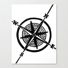 Black Nautical Compass  Canvas Print