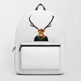 Deer head on flowers Backpack