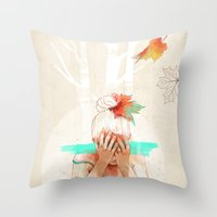 ariana grande Throw Pillows featuring Autumn by Ariana Perez