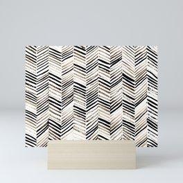 black ink herringbone Mini Art Print
