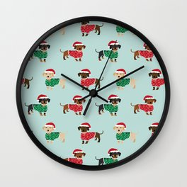 Doxie Christmas Sweaters cute dachshund pattern print dog gifts Wall Clock
