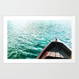 wooden boat on the lake Art Print