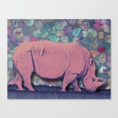 Pink Rhinoceros Collage Canvas Print